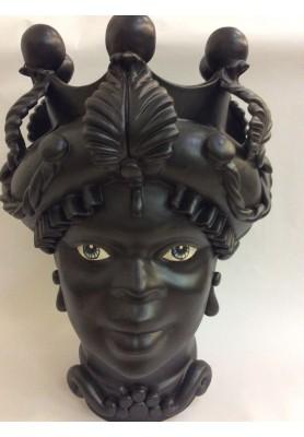 Vaso Moro Lady Nero - Linea Caltagirone - SPEDIZIONE GRATUITA