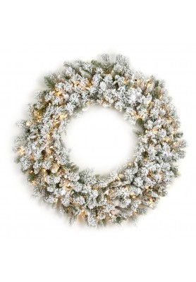 White Pine Wreath With Lights - Linea Winter Frost -SPEDIZIONE GRATUITA