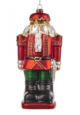 Glass Nutcracker Ornament - Katherine's Collection - Linea Tartan Tradition