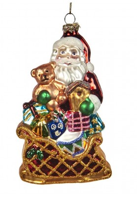 Glass Santa With Sleigh Ornament- Katherine's Collection - Linea Tartan Tradition