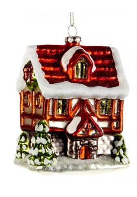 Glass Traditional Cottage House Ornament - Katherine's Collection - Linea Tartan Tradition