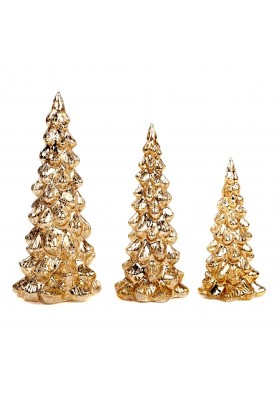 Glass Antic Xmas Tree Set/3  - Linea Thread of Gold