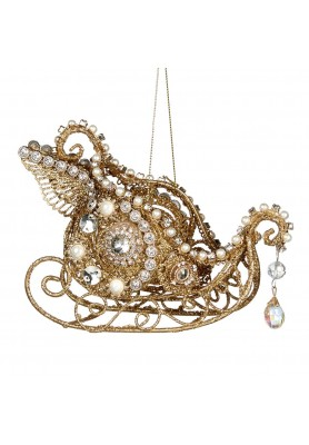 Jewel Swan Sleigh Ornament - Katherine's Collection - Linea Thread of Gold