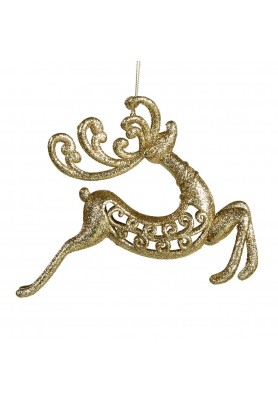 Glitter Jumping Deer Ornament  - Linea Santa's Jouney