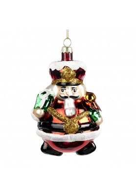 Glass Glitter Santa Nutcracker Ornament  - Linea Classic Santa