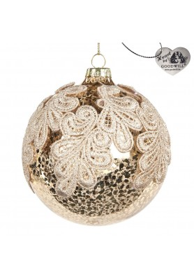 Glass Antic Lace Leaf  Ball Ornament  - Linea Golden Lace