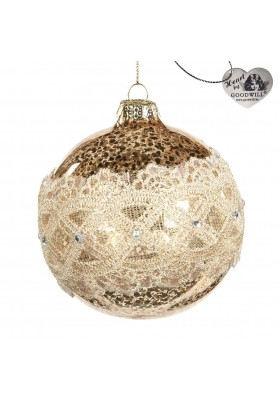 Glass Antic Lace Ring Ball Ornament  - Linea Golden Lace