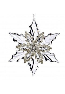 Jewel Poins.Snowflake Ornament  - Linea Magical White