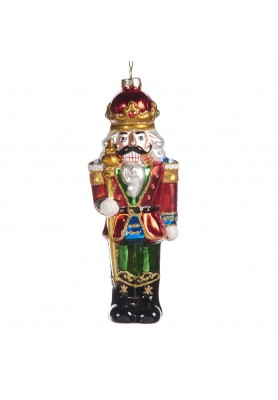 Glass Nutcracker Soldier Ornament  - Linea Classic Santa