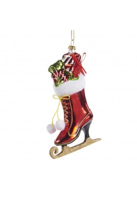 Glass Skate with Gifts Ornament - Linea Santa & Friends