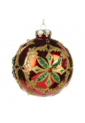 Glass Jewel Flower Ball Ornament  - Linea Classic Santa