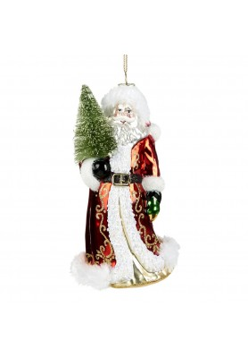 Glass Santa with Tree Ornament - Linea Classic Santa