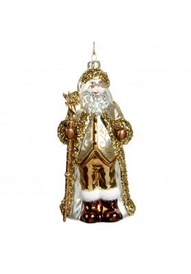 Glass Glitter Santa Ornament  - Linea Golden Lace