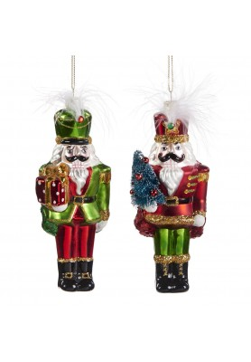 Glass Nutcracker Ornament ASS/2 - Linea Classic Santa