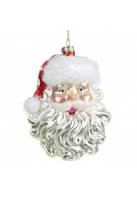 Glass furry Santa Head Ornament- Linea Santa & Friends