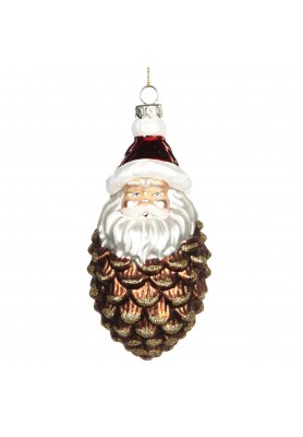 Glass Santa Pinecone Ornament - Linea Mice in the Wood