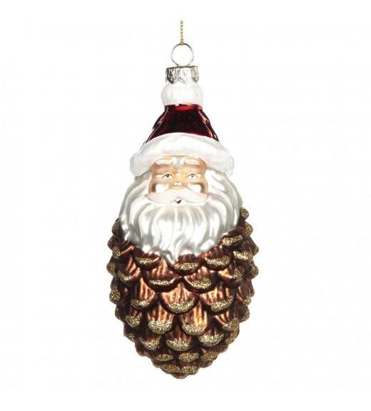 Glass Santa Pinecone Ornament - Linea Mice in the Wood