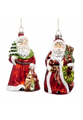 Glass Wishes Santa Ornament Ass/2- Katherine's Collection - Linea Classic Santa