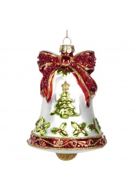 Glass Xmas Wishes Bell Ornament- Katherine's Collection - Linea Classic Santa
