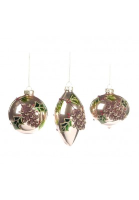 Glass 3D Pinecone Ball Ornament Ass/3  - Linea Mice in the Wood
