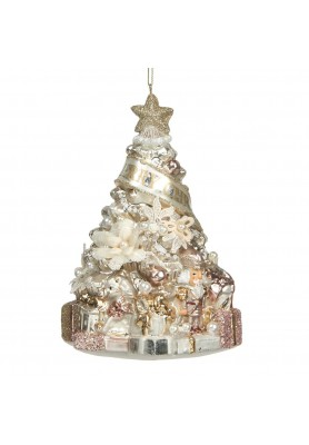 Glass  Xmas Tree Pearl/Flower Ornament  - Linea Rococo Gold