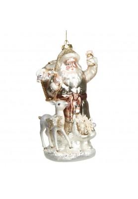 Glass  Santa Pearl/Flower W/Deer Ornament  - Linea Rococo Gold
