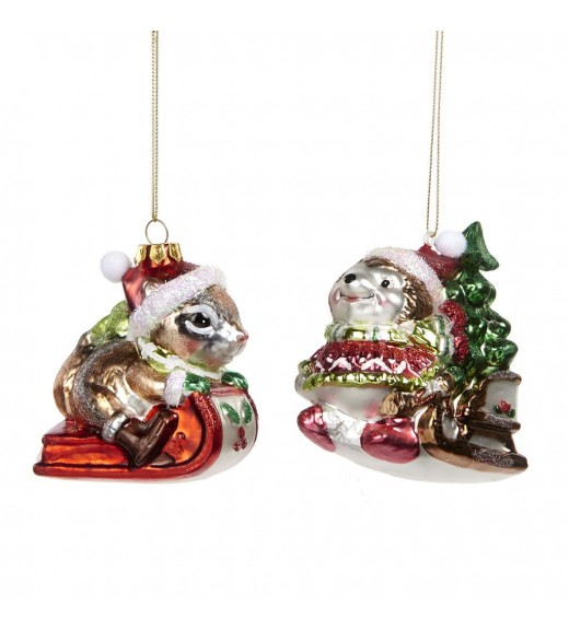 Glass Hedgehog/Squirrel Sleigh Ornament - Linea Mice in the Wood