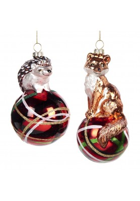 Glass Hedgehog/Fox on Tartan Ball Ornament Ass/2 - Linea Mice in the Wood