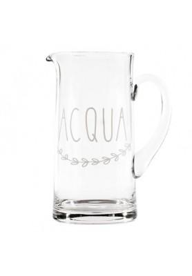Brocca in vetro con  decoro Acqua - Linea Simple Day
