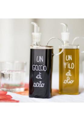 Bottiglia Aceto in vetro con  decoro Un goccio di Aceto - Linea Simple Day