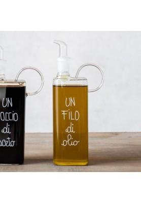 Bottiglia Olio in vetro con  decoro Un filo di Olio - Linea Simple Day