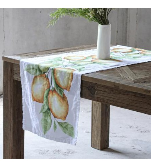 Runner in Lino stampa Limoni  - Linea Simple Day
