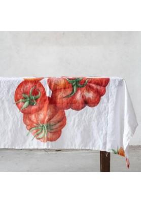 Tovaglia in Lino stampa Pomodori 160x260 - Linea Simple Day